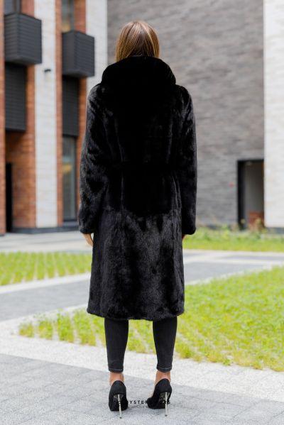 Манто из меха норки с капюшоном  #АК065. Вид 2